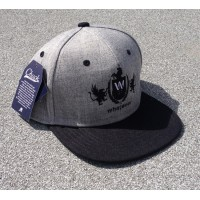 Whatever Skateboards Snapback Hat Embroidered Black on Gray
