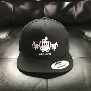 Whatever Skateboards Hat - White Logo on Black Snapback