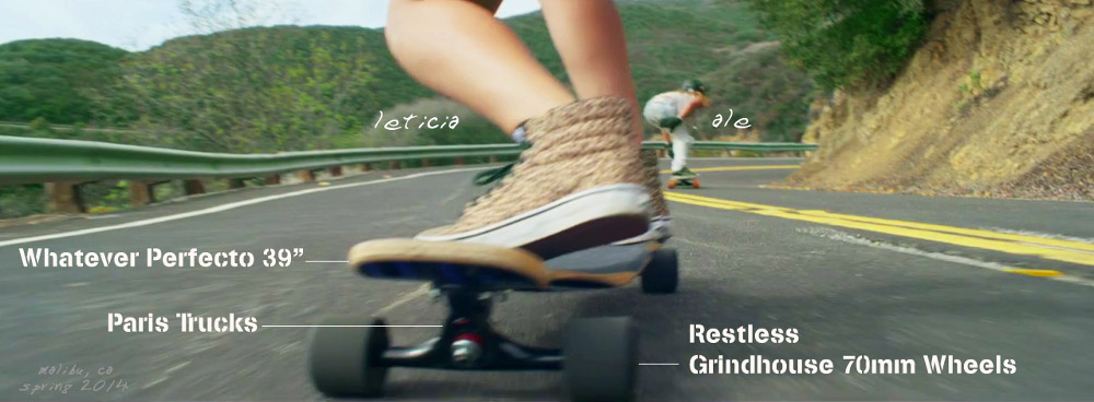 Action Shot of Whatever Sktaeboards Riders - Leticica on a Whatever Perfecto 39 Longboard with Paris Trucks