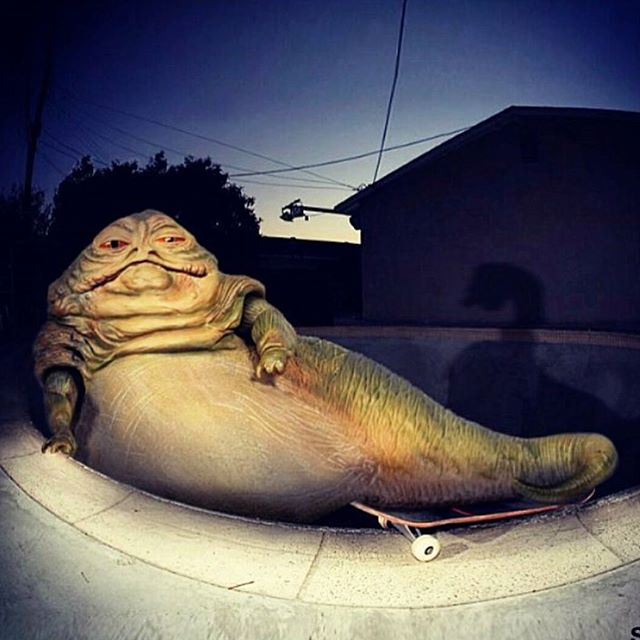 When u skate sesh right after burritos...#latenightproblems @nickpalmquist #skatelife #sk8 #skateboard #skateboarding #jabbathehutt #starwarsskate #poolhog #funny #poolskate #space #starwars #summer #nightskate #whatever #whateverskateboards