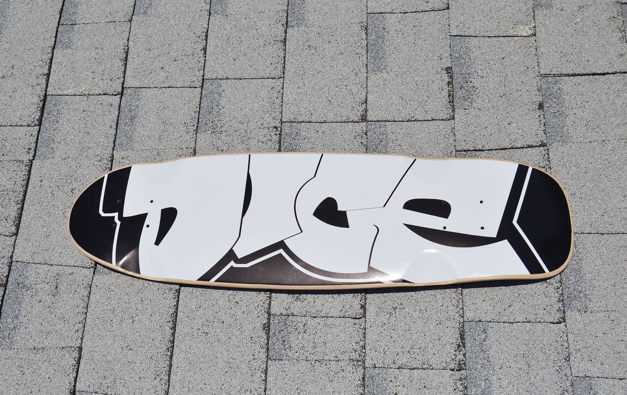 "Collin's Custom 2015 Old Skool Deck with his sweet and super clean original graffiti tag ""DICE"""